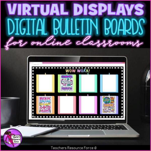 Virtual Digital Bulletin Display Boards For Online Classroom Decor