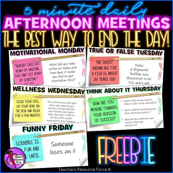 Free Daily Themed Afternoon Meeting Digital Whiteboard PowerPoint (1 WEEK)