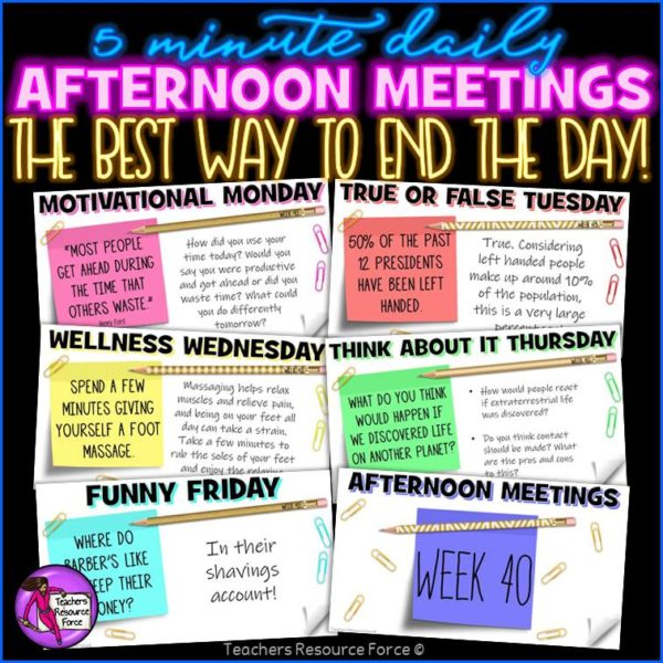 Distance Learning Daily Afternoon Meeting Digital Whiteboard PowerPoint (1 FULL YEAR)