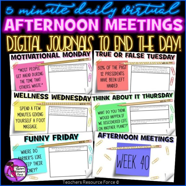 Distance Learning Daily Virtual Afternoon Meeting Messages Journal (1 FULL YEAR)