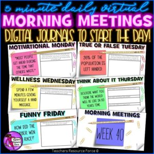 Daily Morning + Afternoon Meetings BUNDLE: Both PowerPoints + Journals [1 YEAR]