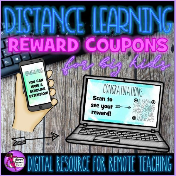 Distance Learning Digital Rewards Coupons for Big Kids (that are free treats!)