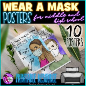 Wear A Mask Posters for Middle and High School