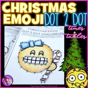 Christmas Math Differentiated Lesson Emoji Dot to Dot Times Tables