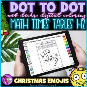 Digital Dot to Dot Times Tables Christmas Emoji Math Differentiated Lesson