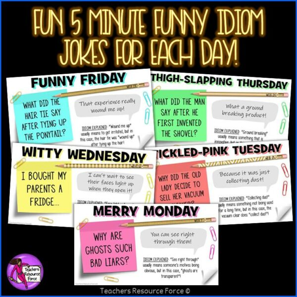 Distance Learning Daily Idiom Joke of the Day Morning Meeting [1 YEAR]