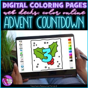 Digital Colouring Pages: Advent Calendar Christmas Countdown