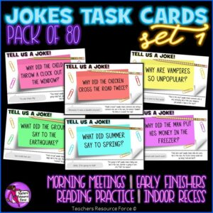 Joke Task Cards Set 1 for Morning Meeting, Indoor Recess, Early Finishers, Reading