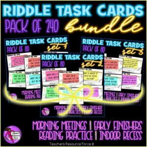 Riddles Task Cards Set Bundle for Morning Meeting, Indoor Recess, Early Finishers, Reading
