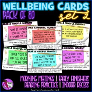 Wellbeing Cards 2 for Morning Meeting, Indoor Recess, Early Finishers, Reading